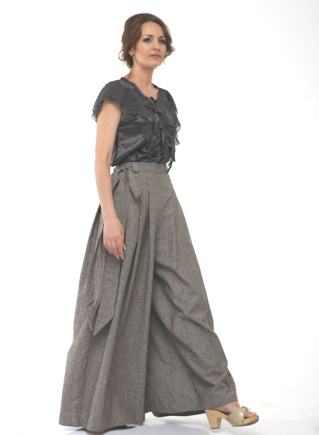Wide Leg Linen Pants.Comfortable Pants Skirt with