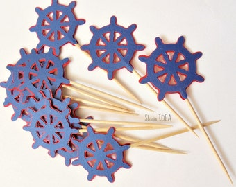 Blue-Red Nautical Wheel Cupcake Toppers, Food Picks or CHOOSE YOUR COLORS