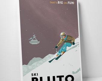 Ski Pluto Gallery Wrapped Canvas Print