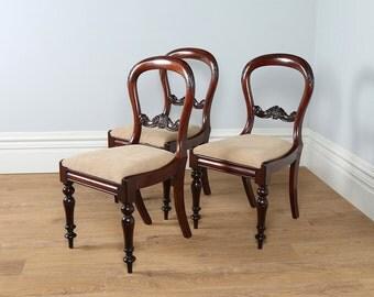 Antique English Set of 3 Cuban Mahogany Balloon Back Dining Chairs (Circa 1850)