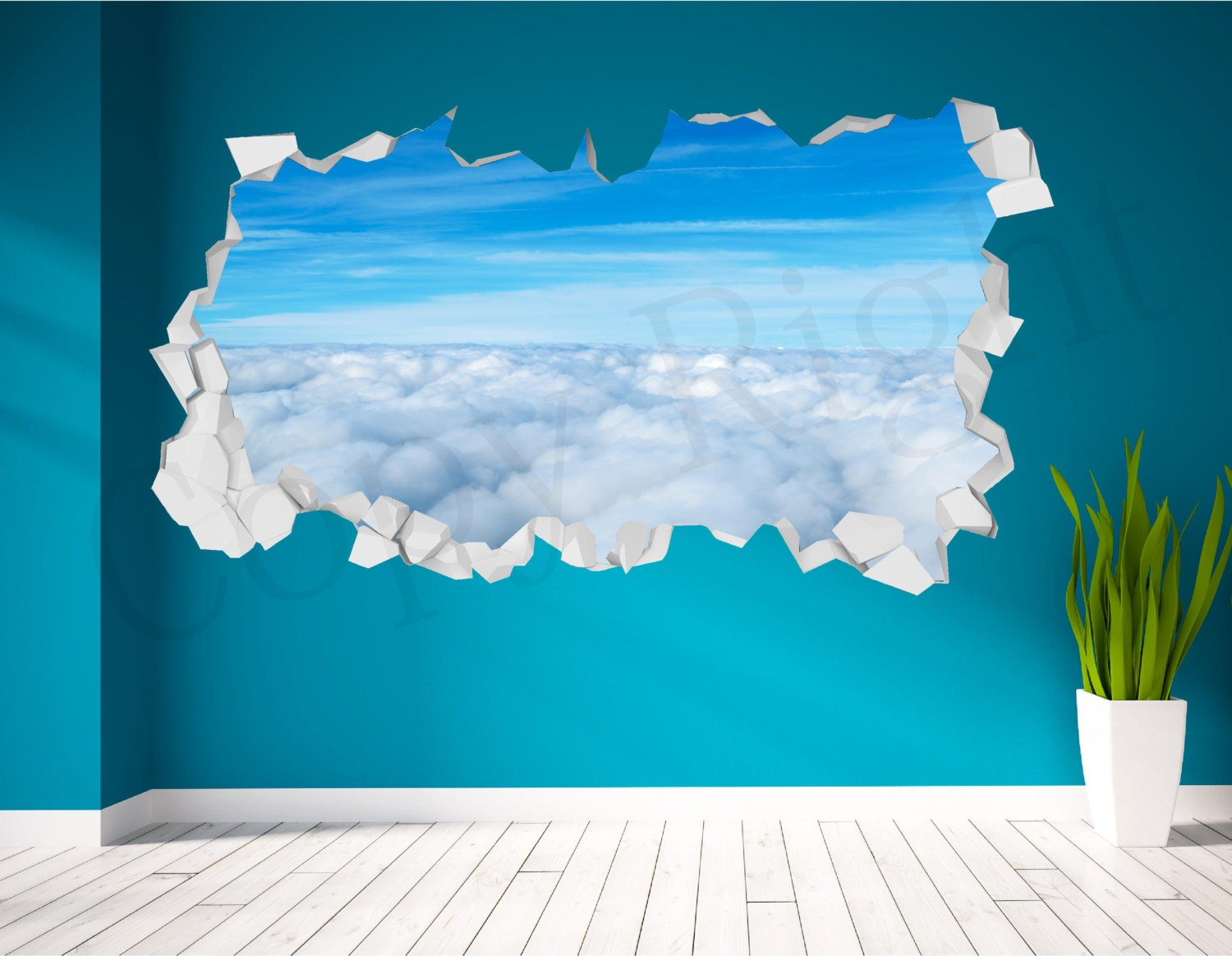 Sky clouds realistic cracked wall 3d huge wall art sticker zoom amipublicfo Gallery
