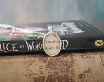 Alice in Wonderland Page Fragment Necklace