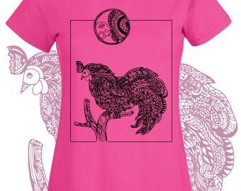 Chicken shirt. Rooster tshirt and Man in the Moon country or farm chic. Intricate line art drawing t shirt. Graphic tee women or teen girls