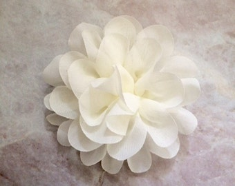 Chiffon flower, large flower, ivory flower, lace flower, flower puff, flower supplies, DIY supplies,