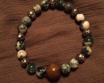 Metal and Moss Agate Bracelet