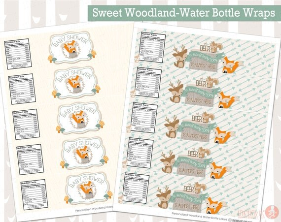 Sweet Woodland Baby Shower Water Bottle Labels Instant