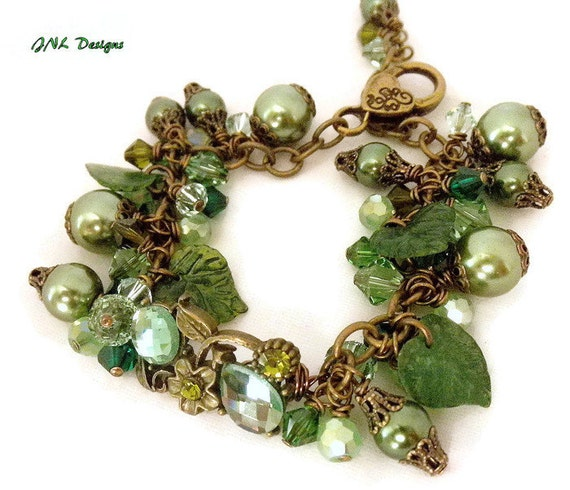 Green pearl bracelet, Adjustable bracelet , Jewelry for her,Patina jewelry, Bracelet for gift