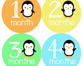 Colourful Penguins Monthly Onesie Stickers - Colorful Penguin Orange Yellow Gender Neutral Green Blue Boy Girl