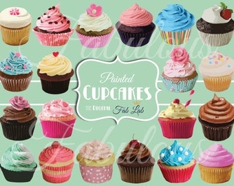 Painted Digital Cupcakes, Birthday Party, Delicious, Colorful and Fun, Digital Clipart, Scrapbook