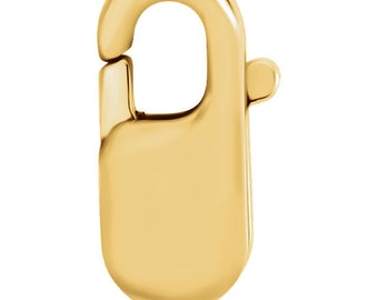 14kt Yellow Gold 8.5x3.25mm Long Lobster Clasp, Lobster Claw Clasp, Yellow Gold Material
