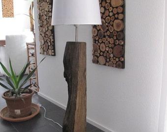 Floor lamp made of old oak
