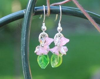 Pastel PInk Czech Glass Flower Chandelier Earrings