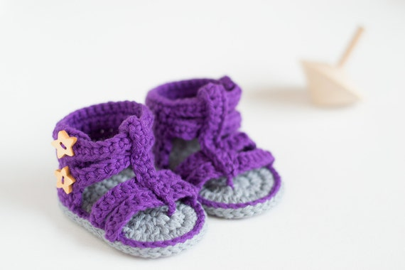 CROCHET PATTERN - Purple Gladiator - Crochet Baby Booties - Crochet Baby Shoes - Instant Download