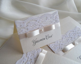 Place Cards, Sample Place Cards, Name Card, White Wedding Place Card