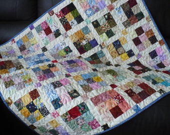 Scrappy lap quilt, colorful crib quilt, table topper/colorful crib quilt/postage stamp quilt, cream yellow backing/ multi colored quilt