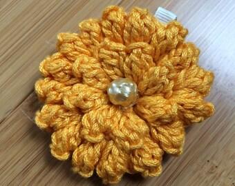 Handmade Crochet Dahlia Flower Hair Clip ~ Flame Orange