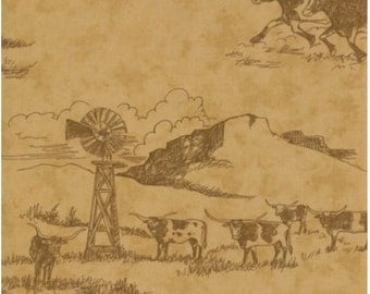 Home On The Range Fabric by Moda - 54078-11 Cowboy Western Scene Prarie Motifs