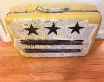 Vintage Custom Painted and Decoupage Suitcase with D.C. Flag