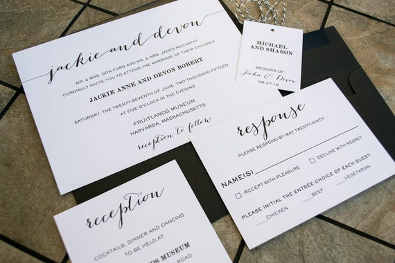 Modern Calligraphy Wedding Invitations : Modern Calligraphy Wedding Invitation, Simple Wedding Invitation ...