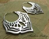 White Brass Tribal Earrings Lotus Hoop Earrings Tribal Brass Earrings Ethnic Earrings Gypsy Hoop Earrings Belly Dance Jewelry