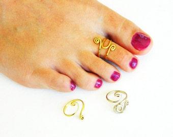 toe ring, gold ring foot, Foot ring, ring toe, ring toe in body, adjustable toe ring, toe ring, wire wrap, silver ring foot, three rings toe