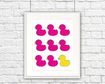 Pink Ducks in a Row Print **DIGITAL DOWNLOAD**