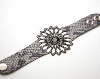 Small flower leather bracelet cuff with modern geometric design
