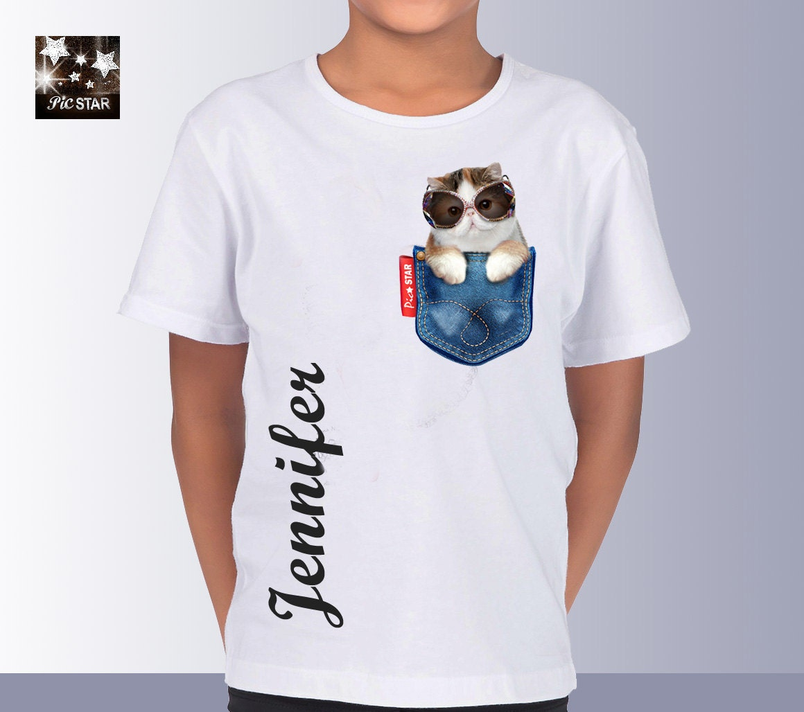 Pet persian cat 2 in a jean pocket t shirts custom t for Custom t shirts with pockets