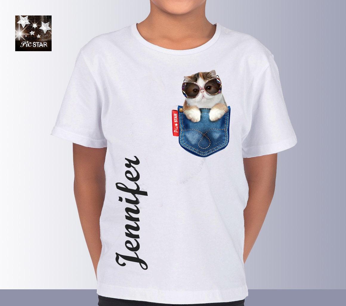 Pet persian cat 2 in a jean pocket t shirts custom t for Custom pocket t shirts