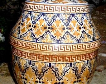 "old enamelled ceramic ""ben chaya"" butter pot"
