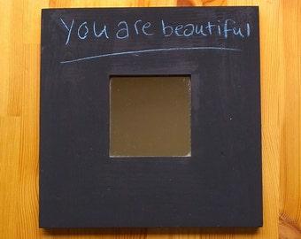 Salvaged chalkboard mirror