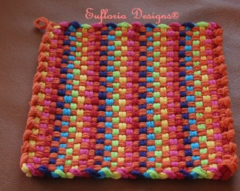 POT HOLDERS | Cotton Loop Potholders | Hand Woven | Bright Colorful Orange on Rainbow