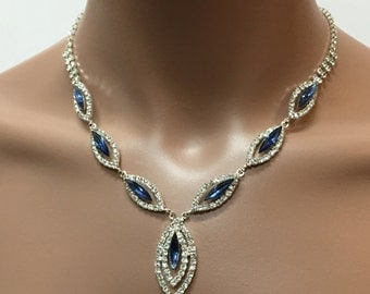 Bridal jewelry set,  vintage inspired Navy blue rhinestone crystal ,Necklace with Earring, wedding jewelry set