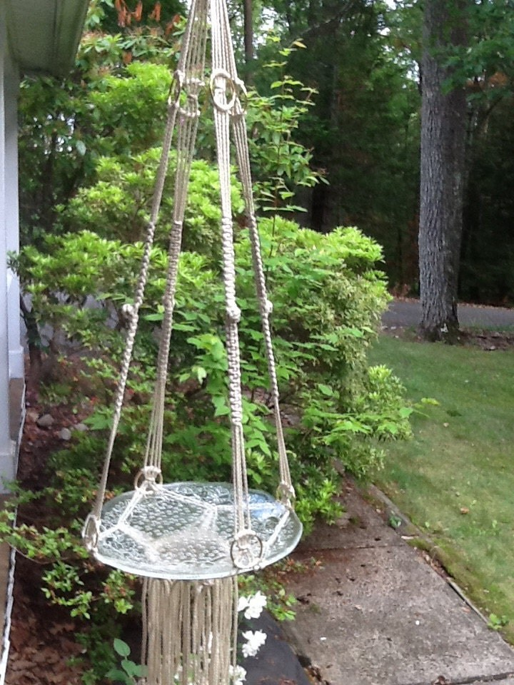 Macrame Hanging Table Or Plant Hanger Off White By Knotsandneedle