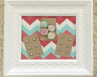 Magnetic memo board - 8x10 white ornate frame - magnet board - memo board - bulletin board - magnetic - picture frame - teal and coral chevr