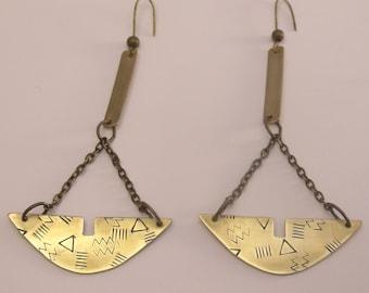 """Brass drop chain """"Patterns"""" earrings"""