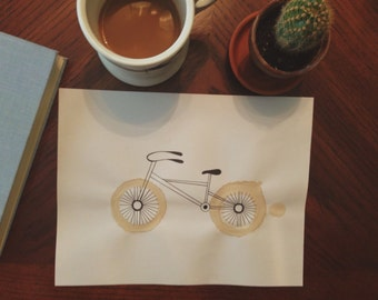 Coffee Stained Bicycle Print
