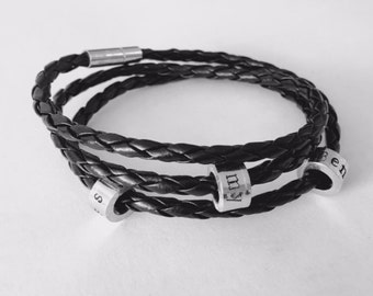 Real leather wrap personalised bracelet, ideal for men, similar to pandora, camilla and pandora
