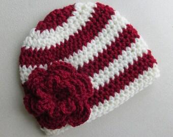 Oklahoma Sooners Hat Newborn Baby Toddler Child Adult Women Crochet Beanie
