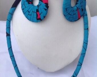 Ankara necklace and earrings, ankara earrings, ankara set.