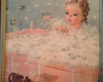 "Rare Vintage August Albo Lithograph Print 1 of 4 in Series ""Bath Time"""