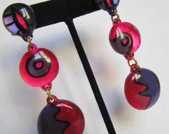 Vintage earring- Purple and pink dangle drop earrings- 90s Jewelry