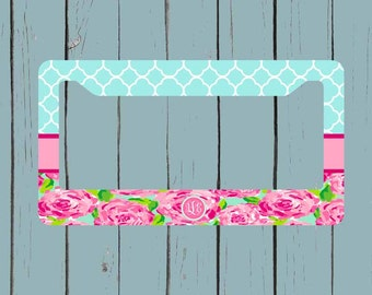 monogram license plate frame lily pulitzer inspired license plate frame monogram car tag front - Monogram License Plate Frame