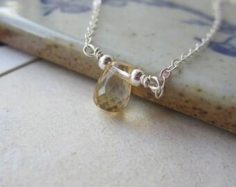 Natural citrine choker, 925 silver necklace, handmade