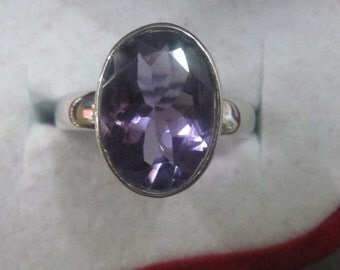 Natural amethyst ring for men in 925 sterling silver