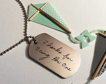 Handwritten Stainless Steel Dog Tag Your Handwriting (up to 30 characters) Actual Handwriting Laser Engraved