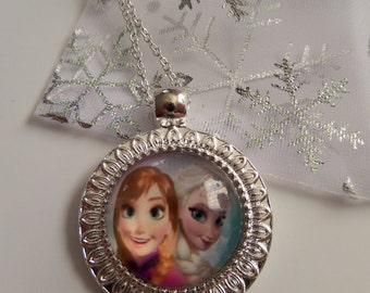 Frozen inspired ELSA & ANNA (WHITE) glass dome pendant necklace