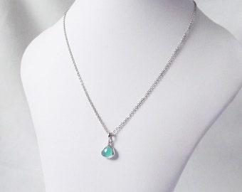 silver mint green necklace, sea foam green and silver beach mint green jewelry