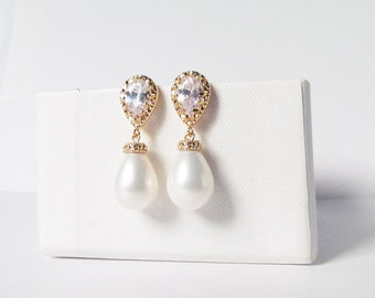 pearl teardrop earrings gold, pearl wedding earrings, pearl bridal earrings, pearl drop earrings, wedding, pearl bridal jewelry