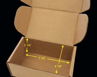 """Case of 25 Tuck Top SaverBoxes - Box perfectly fits USPS Flat Rate Envelope - Lowers shipping cost by 50% or more - 7 1/2"""" x 4 7/8"""" x 3 1/4"""""""
